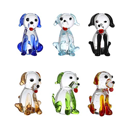 crystalsuncatcher Dog Animals Hand Painted Multi Color Hand Blown Glass Art Gift Collectible Decorate(Dog)