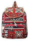 Turkish Rug Backpack Multi Pocket Handmade Stylish Designer Daypack Ethnic Handwoven Carpet Bag for Travellers Boho Hippie Bag (Red, Rug)