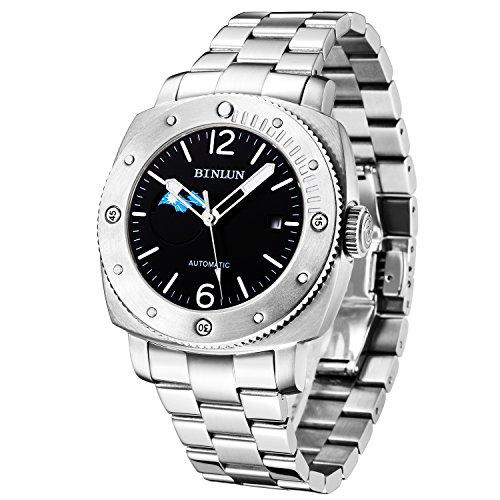 BINLUN Herren Analog Automatik Uhr mit Edelstahl Armband Silber Wasserdicht FBL0076G-SWB