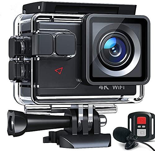 Action Camera 4K 20MP WiFi EIS Sports Camera Ultra HD Impermeabile 40M 2.0' LCD 170° grandangolo 2.4G Remote 2 x 1050mAh batterie e molteplici accessori