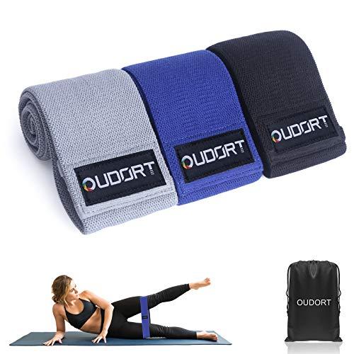 Oudort Set di 3 Elastici Fitness, Fasce Elastiche Fitness in Tessuto con 3 Livelli di Resistenza per Esercizi Gambe e Glutei, Pilates, Palestra, Yoga, Crossfit