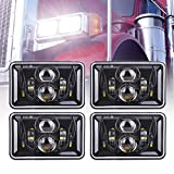 4pcs 60W Rectangular 4x6 Led Headlights Dot Approved H4656 H4651 H4652 H4666 H6545 Headlight Replacement for Freightliner Peterbilt Kenworth Chevrolet Oldsmobile Cutlass Trucks - Black