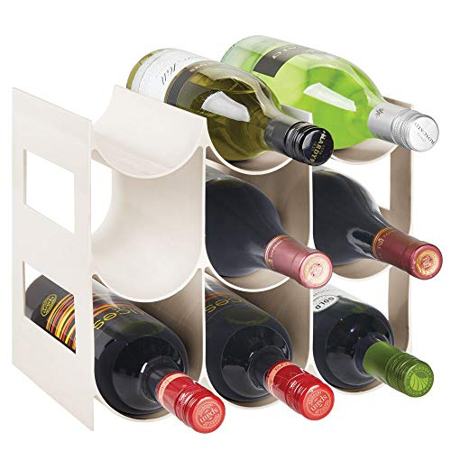 mDesign Pratico scaffale per bottiglie di vino Portabottiglie in plastica senza BPA per 9 bottiglie...