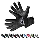 BPS 3mm Neoprene Diving Gloves with Anti Slip Palm - Full Finger Gloves for Scuba Diving, Snorkeling, Surfing, Paddleboarding, and Other Water Sports - for Kids and Adults (Black / Lilac Grey, XS)