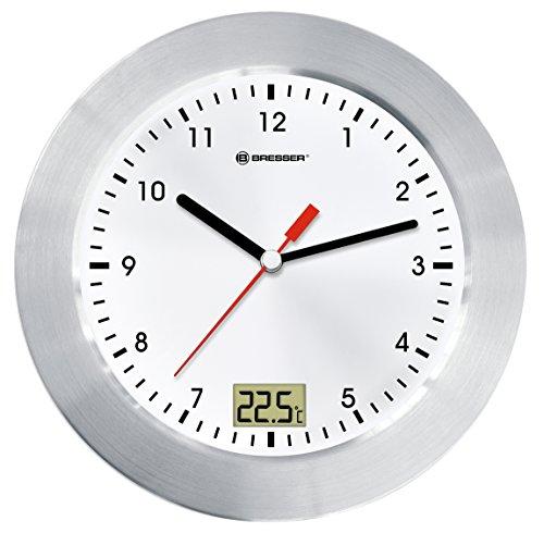 Bresser MyTime Bath Bad Wanduhr mit Temperaturanzeige und Quarz-Uhrwerk mit gebürstetem Aluminiumrahmen, Saugnäpfen und Standfuß für Tischmontage, weiß/silber