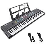 RenFox 61-Key Electric Piano Keyboard with Microphone & Music Stand Portable Electronic Kids Piano Keyboard Multifunction Kids Teaching Music Keyboard Piano for Beginners Boys Girls 29.9 W x 7.9 D
