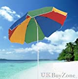 The Magic Toy Shop - Parasol de plage inclinable avec protection solaire UPF 40 - Multicolore Rainbow