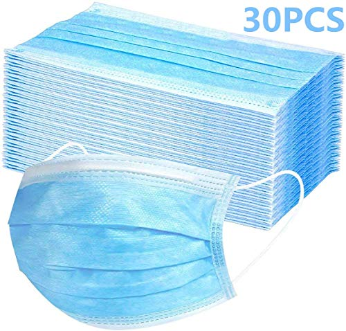 30 PCS Disposable Masks Disposable Eye Mask Dust Breathable Earloop Face Mask Comfortable Sanitary Mask Thick 3-Layer Masks