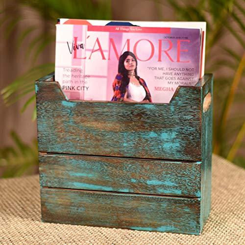 Unravel India Antique Finish Mango Wood Magazine Holder