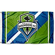3' x 5' in Size with Two (2) Metal Grommets for attaching to your Flagpole Made of 100% Polyester with Quadruple Stitched Flyends for Durability, 150d Thickness, Imported Screen Printed Seattle Sounders Logos are Viewable from Both Sides (Opposite Si...