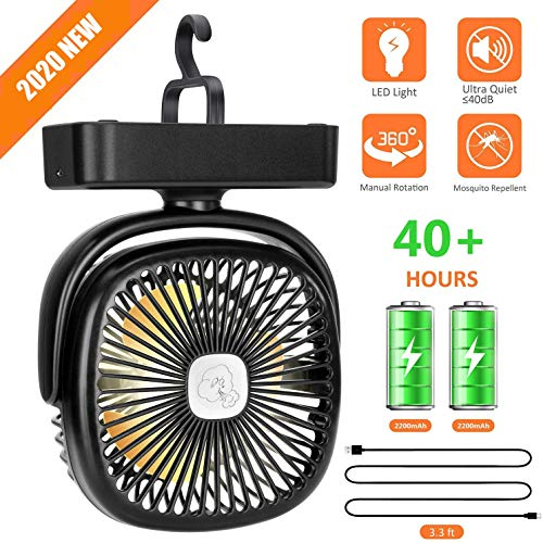 Portable Tent Fan, 4400mAh Battery/USB Powered with LED Lights
