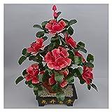 KGDC Decoracin de Plantas Falsas Bonsai Artificial Natural Jade Adornos Pink Peony Flower Jade Potted Decorativo Bonsai Escritorio Mostrar Pot Ornaments rbol Bonsai Artificial