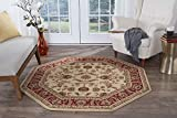 Sariya Transitional Oriental Ivory Octagon Area Rug, 5' Octagon