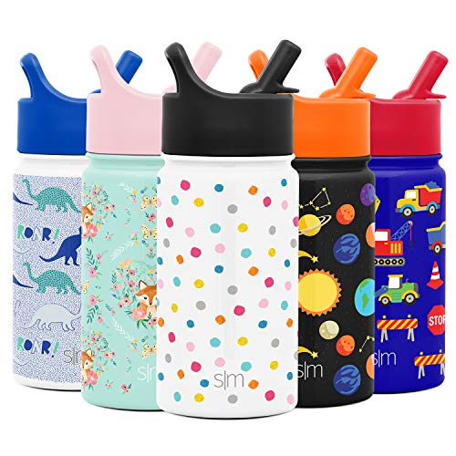Simple Modern 14oz Summit Kids Water Bottle Thermos with Straw Lid - Dishwasher Safe Vacuum Insulated Double Wall Tumbler Travel Cup 18/8 Stainless Steel -Polka Play