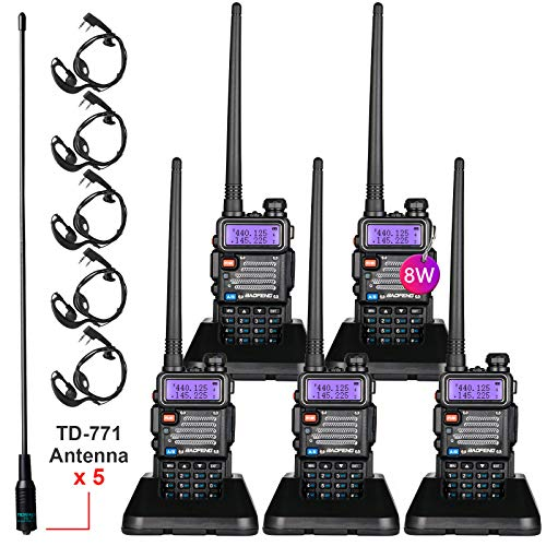 BaoFeng Radio High Power Upgraded Baofeng UV-5R Ham Radio Handheld Two Way Radios with TIDRADIO-771 Antenna Baofeng Walkie Talkies (5 Pack)