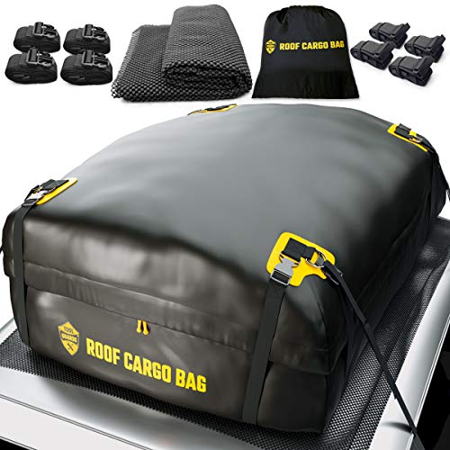 Car Top Carrier Roof Bag   15 or 20 Cubic ft + Protective Mat - for Cars with or Without Racks