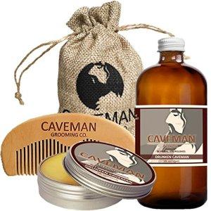 Caveman Beard Care Set for Men, Natural, Beard Oil, Beard Balm Butter Wax, Beard Comb, Conditioning...