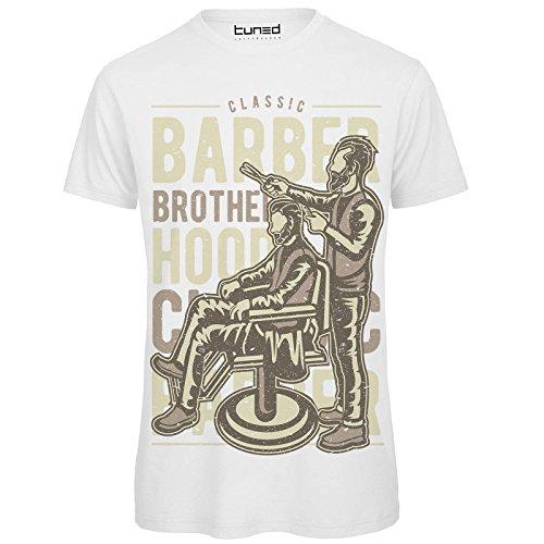 CHEMAGLIETTE! T-Shirt Uomo Maglietta con Stampa Ironica Hipster Barber Brotherhood Tuned, Colore: Bianco, Taglia: 2XL