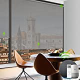 Yoolax Motorized Solar Shade Romote Control Light Filtering Roller Blinds Transparent Sight Auto Window Blinds (Grey)