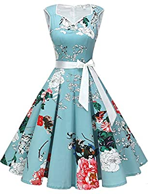 Fabric:1950s Vintage dresses are made of 98% cotton and 2% spandex,it's high quality and skin-friendly material, very comfortable to wear.Garment care:Hand wash,hang to finish drying. Classic Design:Retro rockabilly dresses feature irregular v-neck,p...