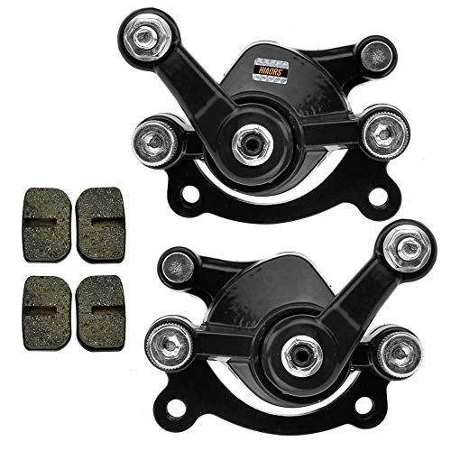 HIAORS Front Rear Brake Caliper With Two Pairs Spare Brake Pads for 47cc 49cc Pocket Bike MAT1 MAT2 Cat Eye FS509 X1 X2 X8 Mini Pit Dirt Quad Moto Scooter Parts