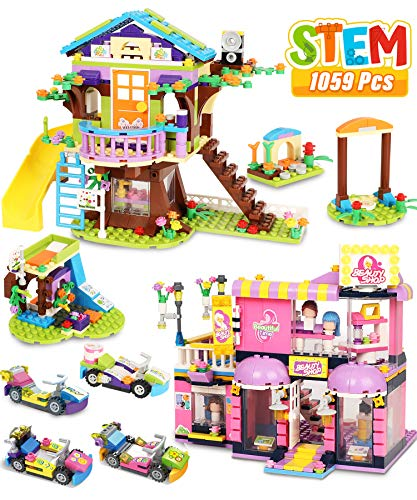 Tree House Building Blocks Set Toy House For Kids Girl, 1059 Pcs Hairdressing Hair Salon Creative Building Bricks Blocks Kit, STEM Learning Roleplay Gift Toy For Boy Girls Kids Toys With Storage Box