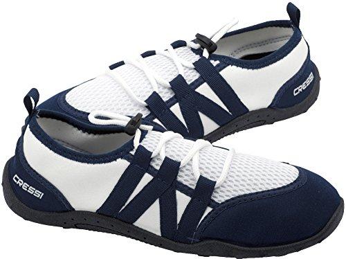 Cressi Elba Pool Shoes, Scarpette Ideali per Mare, Spiaggia, Barca, e Sport Acquatici Vari Unisex Adulto, Bianco/Blu, 46
