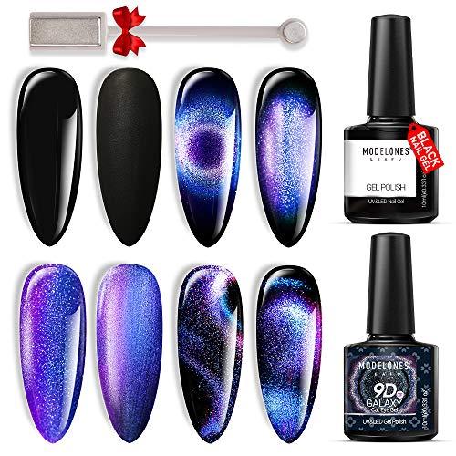 Modelones 9D Cat Eye Gel Nail Polish Set - 2 Pcs Black Blue Purple Chameleon Magnetic Galaxy Glitter Galactic Effect Magic Gel Polish with Magnet Stick Soak Off LED Gel Nail Polish for Nail Art 10ML