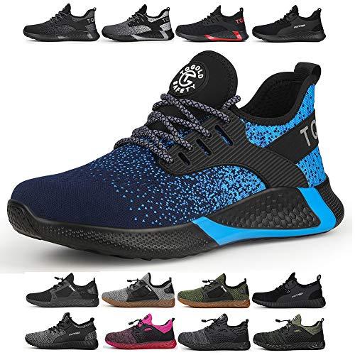 tqgold Sicherheitsschuhe Herren Damen S3 Arbeitsschuhe mit Stahlkappe Sportlich Leichtgewich Breathable rutschfeste Wasserdichtes Schuhe(Blau,Größe 42)