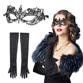 CINMOK 2pcs Máscara Encaje Negros Halloween, Antifaz Mujeres Venecianas para Baile, Guantes Elegantes de Retro para…