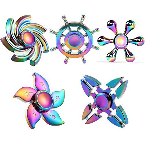 Handheld Toys Rainbow Fidget Spinners Alloy Sensory Toys Set...