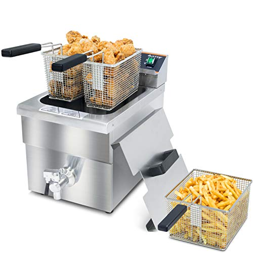 Duxtop Commercial Deep Fryer with Basket, Professional Induction Deep Fryer with Drain System 8.5QT/8L, 3000 Watts, Stainless Steel Easy to Clean for Restaurant Home Kitchen Food Cooking, 208-240V