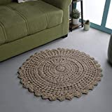Ramanta Home Jute Crochet Hand Woven Rug- 3' Round Natural, Anti-Slip Handmade Accent Rugs for Kitchen Living Room Bedroom, 3 Feet Round