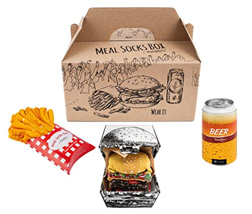 Rainbow Socks - Donna Uomo Divertenti Meal Socks Box Calze Regalo - 5 Paia - Burger Patatine Birra -...
