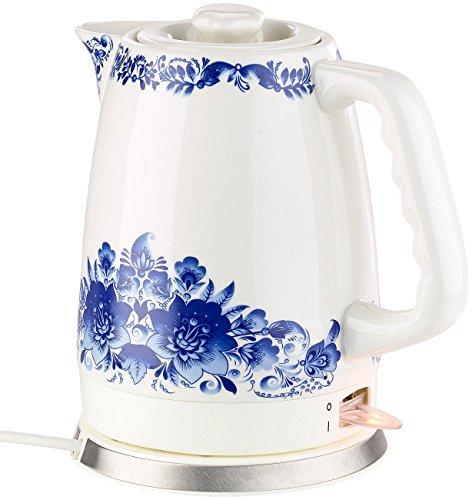 Rosenstein & Söhne Wasserkocher Teekanne: Keramik-Wasserkocher WSK-280.rtr mit blauem Blumen-Motiv, 2 l, 1.500 W (Wasserkocher Nostalgie)