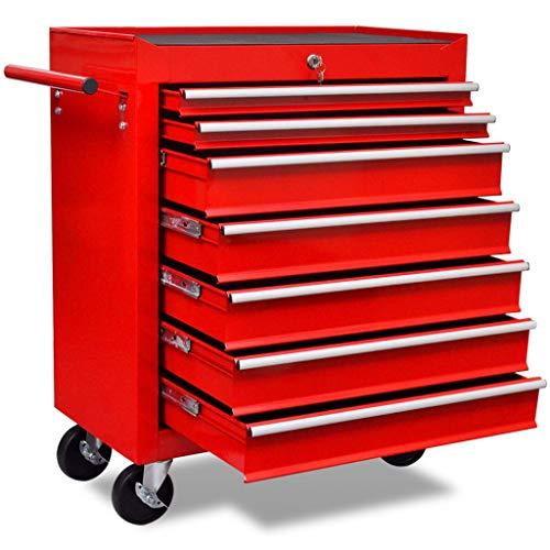 vidaXL Werkstattwagen 7 Fächer Werkzeug Rollwagen Werkzeugwagen Werkzeugkiste