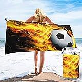 Lawenp Toalla de Playa de Secado rápido, Microfibra con Estampado de Llamas de fútbol, Toallas de baño Ligeras, súper absorbentes para niños y Adultos de 31.5 'X63'