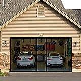 Magnetic Garage Door Screen for 2 Car Garage 16x8ft Retractable 2021 Upgraded, JUYEZODU Screen Doors Net with Magnets, Durable Heavy Duty Fiberglass Screen Mesh for Double Garage Door (Black, 16x8ft)