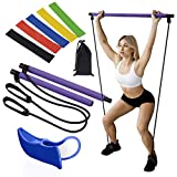 Pilates Bar, FREE Hip Trainer & Bonus Resistance Bands Bundle - Complete Home Gym Package - Full Body, Arms, Legs, Thighs Exercise Kit for Men,Women - Compact, Lightweight, Portable Workout Equipment
