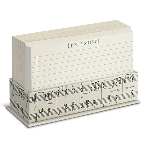 "Graphique Vintage Musical Flat Notes – 50 Musical Themed Note Cards with Matching Envelopes and Storage Box, 5.625"" x 3.5"" – Front Says, ""Just A Note"", Makes a Great Gift"