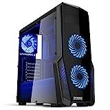EMPIRE GAMING - Boitier PC Gamer WareFare Noir - 3 Ventilateurs LED Bleu 120 mm - Paroi teinté et Transparent - Compatible ATX/mATX/mITX