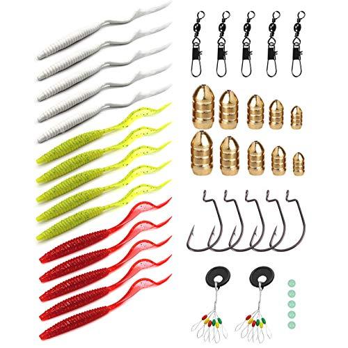 YYYY Kit di Esche Artificiali di Pesca 15 Esche Morbide + 27 Accessori