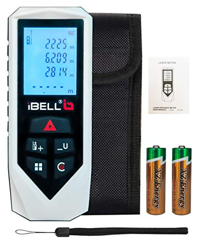 IBELL DM60-01 Classic Laser Measure 196Ft/60M Mute Laser Distance Meter with Backlit LCD and...