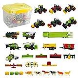 deAO 31 pièces véhicules détachables avec tracteurs camionnettes et Boite de...