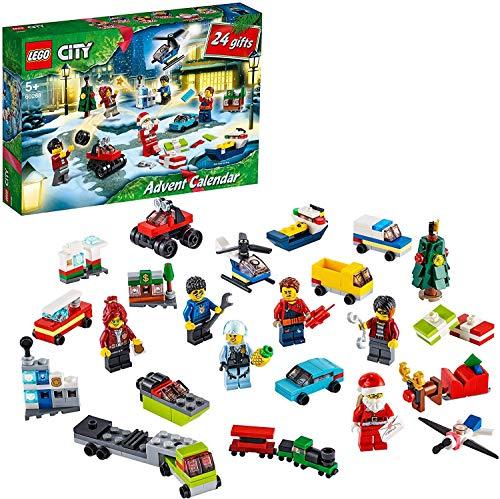 LEGO City Calendario dell'Avvento 2020, Mini Set di Costruzioni Natalizie con Micro Veicoli, Slitta di Babbo Natale e Tavola, 60268