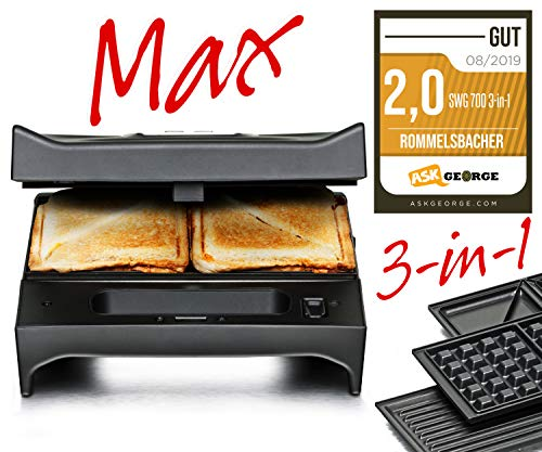ROMMELSBACHER SWG 700 3-in-1 Multi Toast & Grill Max (Sandwich-Maker, belgisches Waffeleisen, Kontaktgrill, 3 wechselbare Alu-Druckguss-Platten, 2-Lagen Antihaftbeschichtung) schwarz/Edelstahl