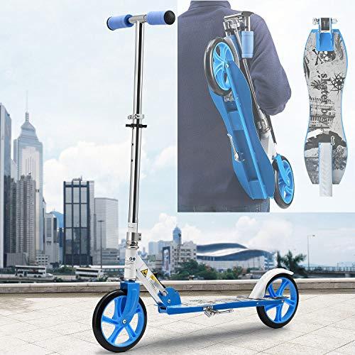 ArtSport Scooter Cityroller Skaterboy Jungen Big Wheel 205mm Räder klappbar höhenverstellbar – Kinder-Roller ab 3 Jahre - Tretroller bis 100kg – blau