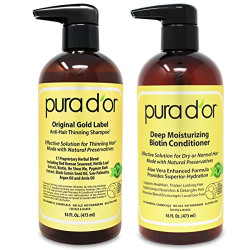 PURA D'OR Biotin Original Gold Label Anti-Thinning (16oz x 2) Shampoo...