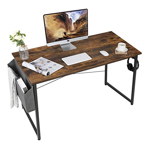 AuAg Schreibtisch Vintage 120 x 60 cm, PC Tisch Computertisch Braun mit Aufbewahrungstasche, Kleiner Schreibtisch Bürotisch Officetisch für Home Office Schule, Stabil Laptop-Tisch Arbeitstisch