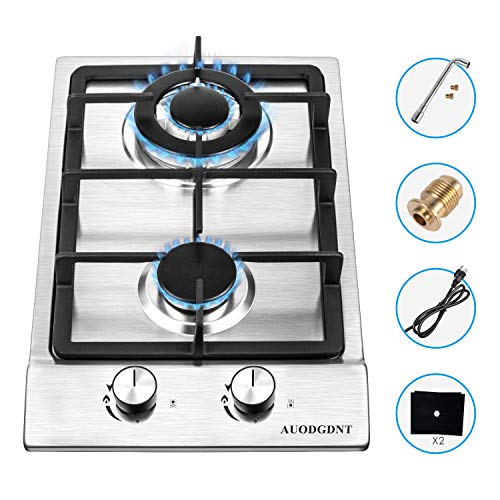 Gas Stove Gas Cooktop 2 Burners,12 Inches Portable Stainless Steel Built-in Gas Hob LPG/NG Dual Fuel Easy to Clean for RVs, Apartments, Outdoor